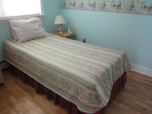 Twin bed, mattress, box spring, foam topper, bedskirt, mattress