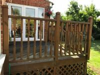 FREE Wooden decking boards, posts, spindles, base and handrails from dismantled deck 2.9m x 3.2m