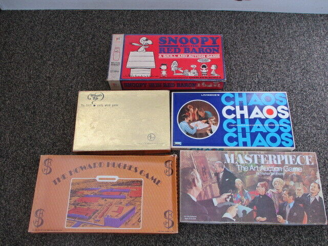 Lot of 5 Vintage Board Games - Snoopy And The Red Baron, Chaos, Masterpiece ++