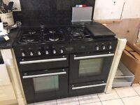 Rangemaster Toledo 1100 dual fuel oven gas electric range cooker Black
