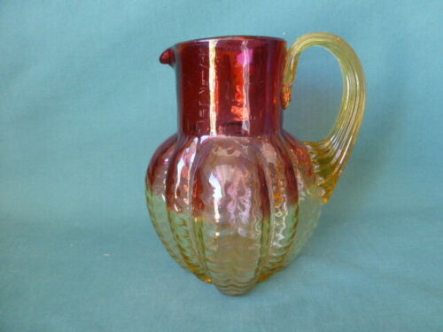 Antique Amberina Art Glass Pitcher W/ Reeded Handle Mellow Ribbed Drape Pattern