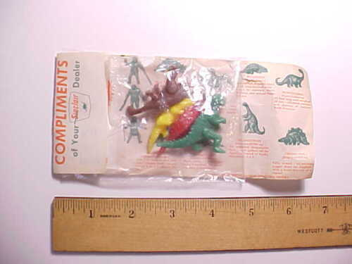 1960s SINCLAIR GAS STATION 4 TINY PREHISTORIC ANIMALS IN ADVERTISING PACKAGE Goo