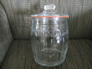 Collectible Large Clear Glass Cookie Jar with Peanut Handle