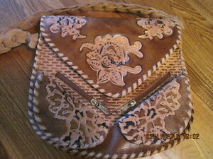 Boho Hippy Style Thick Leather Tooled Pouch Purse Made in Syria