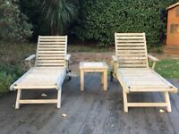 Teak Sun loungers and Side Table