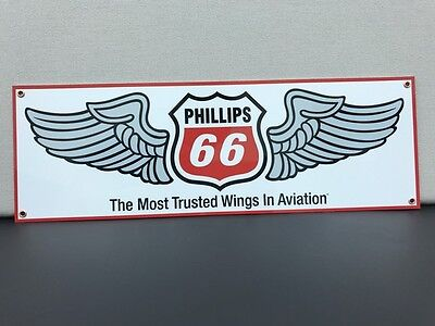 Phillips 66 aviation gasoline oil vintage advertising sign large 18x6 baked