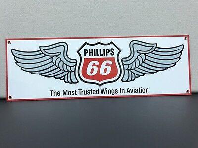 Phillips 66 Aviation Gasoline Oil Vintage Advertising Sign Large 18X6 Baked
