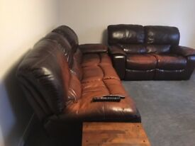 Three&Two seater brown leather recliner sofa