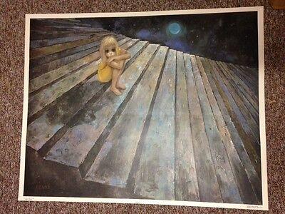 Walter Margaret KEANE ALONE Big Eyes 1960's Mid Century Large Lithograph Print