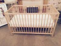 EXCELLENT CONDITION JOHN LEWIS COT WITH EXCELLENT CONDITION MATTRESS LIKE NEW