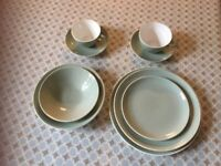 POOLE POTTERY TWINTONE Green/Cream tableware - 4 settings + spares. Only £20.