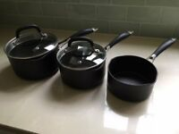 INDUCTION HOB SAUCEPANS -- MATCHING SET OF THREE (black)