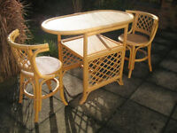 Bamboo/Rattan Style Compact Table and Chairs