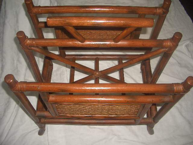 Vintage Charred burnt bamboo Magazine Newspaper rack; Seagrass panels on sides