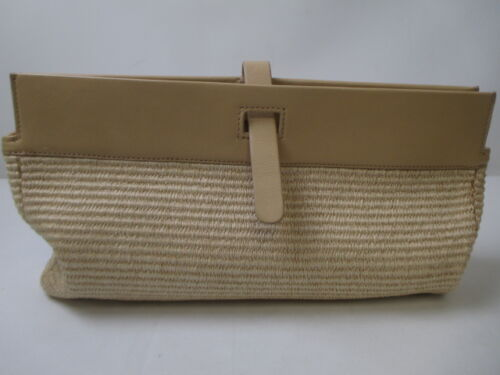 Elie Tahari Tan Straw and Leather Clutch with Dust Bag