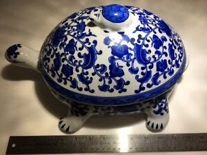 Ceramic Blue and white turtle with removable lid