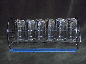 Vintage Steel & Glass Spice Rack with Tight Seals