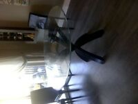 glass top dining table with wood espresso legs need gone ASAP