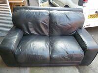 2 x Black Leather 2 seater sofas