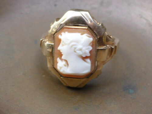 Vintage 10K Yellow Gold Carved Shell Cameo & Diamond Flip Ring - Size 4.5