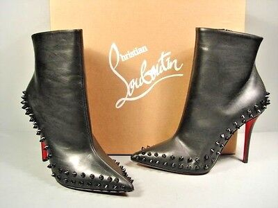 Louboutin 37 Willetta Black Leather point toe spikes ankle boots booties New