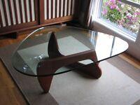 Isamu Noguchi Style Dark Walnut Designer Coffee Table with Glass Top | Brand New