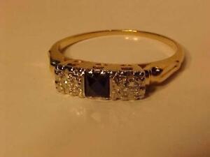#1236-SAPPHIRE & DIAMOND(2)DRESS RING SIZE 6 1/2--14K YELLOW GOLD--FREE SHIPPING & LAYAWAY-INTERAC BANK TRANSFER ACCEPTE