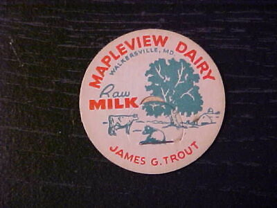 Vintage Milk Bottle Caps - Mapleview Dairy Walkersville MD James Trout Qty of 10