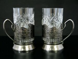 2 RUSSIAN CUT CRYSTAL HOT TEA COFFEE GLASS & 2 METAL GLASS HOLDERS PODSTAKANNIK