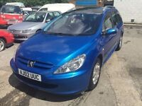2002 Peugeot 307 automatic estate, starts and drives very well, 1 years MOT (runs out June 2017), pa