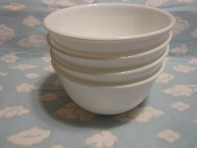 CORELLE/CORNING=WINTER FROST WHITE SOUP BOWLS=SET OF FOUR=ALL TO GO ONE PRICE!