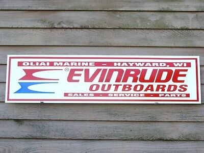 """VINTAGE STYLE EVINRUDE PERSONALIZED OUTBOARD  DEALER/SERVICE SIGN 1'X46"""" W/LOGO"""