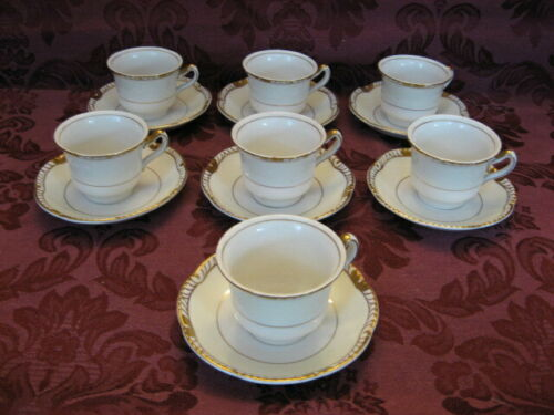 Ridgway Gold-Trimmed China Demitasse Cups and Saucers - Set of 7 -Very Nice!