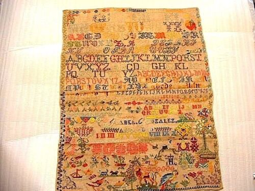 Large Wonderful 19ThC Needlepoint Sampler Dated 1810 Isabel Gonzalez