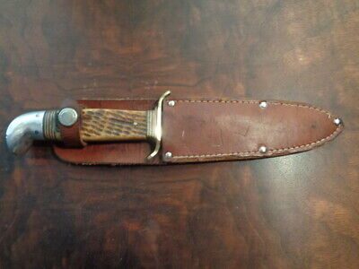 Western Boulder Colo. #677 Bone Stag Handle Knife With Leather Sheath