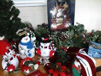 CHRISTMAS DECORATIONS : Snowmen, stocking, long garland, lights, small Christmas Tree