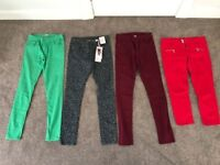 Bundle size 12 3 skinny jeans, 1 cropped jeans (green, leopard, red, Burgundy) (£10 all together)