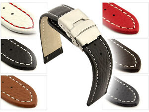 Mens-Leather-Watch-Strap-Band-Freiburg-Deployment-Clasp-18-mm-20mm-22mm-24mm-26