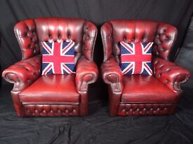 Pair Vintage Luxury Chesterfield Style Oxblood Red Wing High Back Armchairs