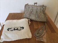 LK Bennett Silver Crystal Evening Bag