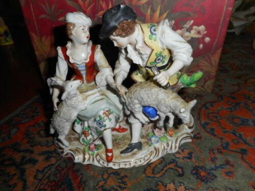 Sitzendorf Porcelain Group Figurine of Shepherd & Shepherdess Sheep Shearing