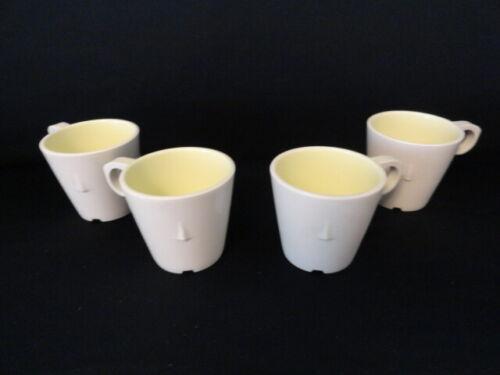 Lot of 4 Vintage Ivory Melamine Melmac Plastic Stack-able Coffee Mugs Texas Ware