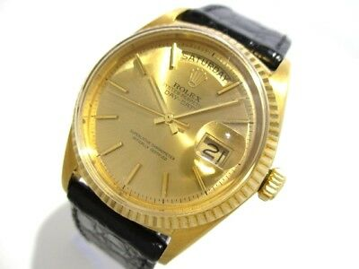 Auth ROLEX Day-Date 1803 Black 18K Yellow Gold Men