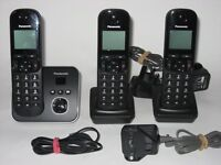 3 set Panasonic KX-TG6803 Digital Cordless Phones + answer m/c base