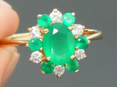 9ct Gold Emerald Hallmarked Cluster Vintage Ring size R