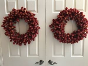 2 red grapevine wreaths $15 for both