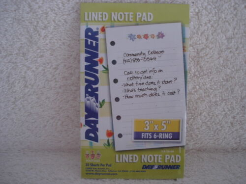 Organizer Refill DayRunner Lined Note Pad NEW  Item number 730-300