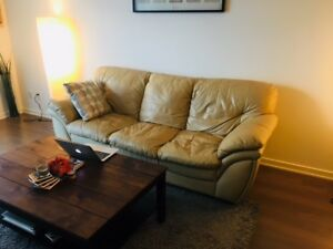 *****BEIGE LEATHER COUCH FOR SALE*****