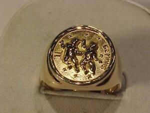 @1255-SOLID 10K Y/Gold **GEMINIS**DRESS RING Size 10 1/4--weighs 10.59 grams-sell $425.00 free layaway and shipping-