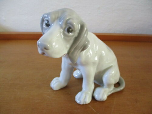 Heubach Beautiful Porcelain Um 1910 Seated Dog With / Faithful View 4 5/16in